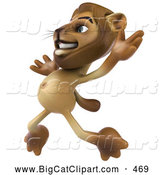 Big Cat Vector Clipart of a Happy Lion Character Jumping While Smiling by Julos