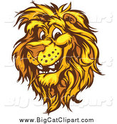 Big Cat Vector Clipart of a Happy Male Lion Head by Chromaco