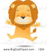 Big Cat Vector Clipart of a Happy Male Lion Jumping by Qiun