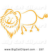 Big Cat Vector Clipart of a Happy Orange Lion Walking Left by Prawny