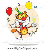 Big Cat Vector Clipart of a Happy Party Tiger with Champagne and Balloons by Hit Toon