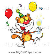 Big Cat Vector Clipart of a Happy Party Tiger with Champagne by Hit Toon