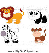 Big Cat Vector Clipart of a Happy Smiling Lion, Panda, Zebra and Monkey by Yayayoyo