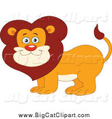 Big Cat Vector Clipart of a Happy Smiling Male Lion by Yayayoyo