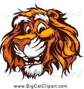 Big Cat Vector Clipart of a Happy Tiger Face by Chromaco