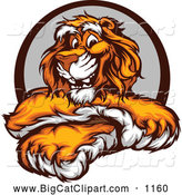 Big Cat Vector Clipart of a Happy Tiger with Crossed Paws by Chromaco