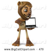 Big Cat Vector Clipart of a Helpful Lion Character Presenting a Laptop While Smiling by Julos