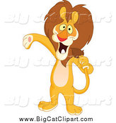 Big Cat Vector Clipart of a Host or Singer Lion Using His Tail like a Microphone and Presenting by Yayayoyo