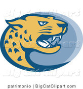 Big Cat Vector Clipart of a Jaguar OVal by Patrimonio