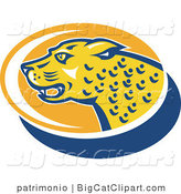 Big Cat Vector Clipart of a Jaguar Profile Oval by Patrimonio