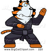 Big Cat Vector Clipart of a Karate Tiger Character in a Black Gi by Cory Thoman
