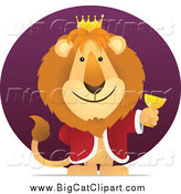 Big Cat Vector Clipart of a King Lion Holding a Goblet Against a Purple Circle by Qiun