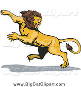 Big Cat Vector Clipart of a Leaping Attacking Lion by Patrimonio