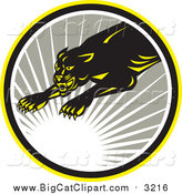 Big Cat Vector Clipart of a Leaping Panther with a Sun Burst by Patrimonio