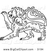 Big Cat Vector Clipart of a Lineart Curly Haired Royal Heraldic Lion by Vector Tradition SM