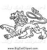 Big Cat Vector Clipart of a Lineart Long Haired Heraldic Lion by Vector Tradition SM
