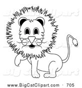 Big Cat Vector Clipart of a Lineart Male Lion Lifting One Paw by Pams Clipart