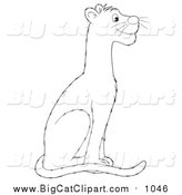 Big Cat Vector Clipart of a Lineart Sitting Panther by Alex Bannykh