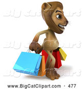 Big Cat Vector Clipart of a Lion Character Carrying Shopping Bags While Smiling by Julos