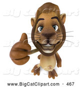 Big Cat Vector Clipart of a Lion Character Giving the Thumbs up While Smiling by Julos
