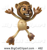 Big Cat Vector Clipart of a Lion Character Jumping While Smiling by Julos