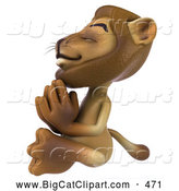 Big Cat Vector Clipart of a Lion Character Meditating While Smiling by Julos