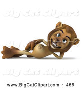Big Cat Vector Clipart of a Lion Character Reclined on His Side While Smiling by Julos