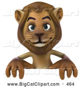 Big Cat Vector Clipart of a Lion Character Standing Behind a Blank Sign While Smiling by Julos
