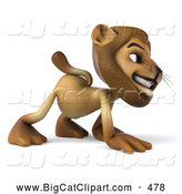 Big Cat Vector Clipart of a Lion Character Walking on All Fours to the Right by Julos
