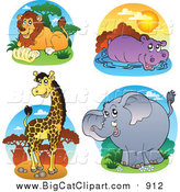 Big Cat Vector Clipart of a Lion, Hippo, Giraffe and Elephant Safari Logos by Visekart
