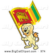 Big Cat Vector Clipart of a Lion Holding a Sri Lanka Flag by Lal Perera