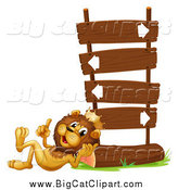 Big Cat Vector Clipart of a Lion King Talking and Resting Against a Sign Post by Graphics RF