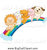 Big Cat Vector Clipart of a Lion, Lamb, Kitten, Piglet and Puppy Going down a Rainbow by BNP Design Studio