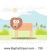 Big Cat Vector Clipart of a Lion near Mountains by Qiun