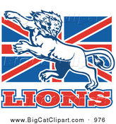 Big Cat Vector Clipart of a Lion on British Flag by Patrimonio