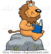 Big Cat Vector Clipart of a Lion Reading Outdoors by Cory Thoman