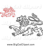 Big Cat Vector Clipart of a Long, Curly Haired Heraldic Lions by Vector Tradition SM