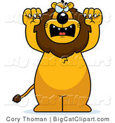Big Cat Vector Clipart of a Mad Lion Standing Upright by Cory Thoman