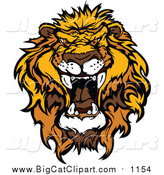 March 27th, 2016: Big Cat Vector Clipart of a Mad Roaring Lion Head by Chromaco