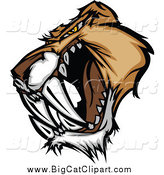 Big Cat Vector Clipart of a Mad Saber Tooth Tiger Head Growling by Chromaco