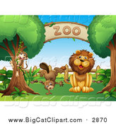 Big Cat Vector Clipart of a Male Lion and Beaver Under a Zoo Sign by Graphics RF