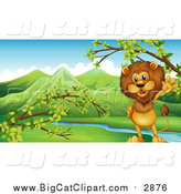 Big Cat Vector Clipart of a Male Lion by a Valley Stream by Graphics RF