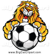 Big Cat Vector Clipart of a Male Lion Holding out a Soccer Ball by Chromaco