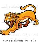 Big Cat Vector Clipart of a Male Lion Prowling by Chromaco