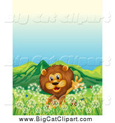 Big Cat Vector Clipart of a Male Lion Waving in a Dandelion Field by Graphics RF