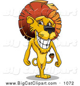 Big Cat Vector Clipart of a Male Lion with a Mohawk Mane by Vector Tradition SM