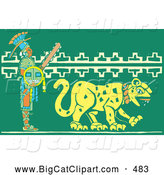 Big Cat Vector Clipart of a Mayan Warrior Walking Behind a Jaguar to the Right by Xunantunich