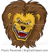 Big Cat Vector Clipart of a Mean Growling Lion Head with a Thick Fluffy Mane on White by Paulo Resende