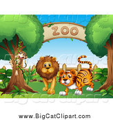 Big Cat Vector Clipart of a Monkey, Lion and Tiger at a Zoo Entrance by Graphics RF