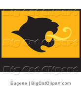 Big Cat Vector Clipart of a Mountain Lion Roaring Flag by Eugene